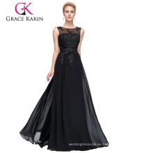 Grace Karin Además de tamaño para las mujeres de grasa sin mangas V-Back negro gasa vestidos de noche CL007555-3