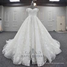 Vestidos de novia apliques de encaje hermoso con diseño de hombros una línea vestido de novia 2018