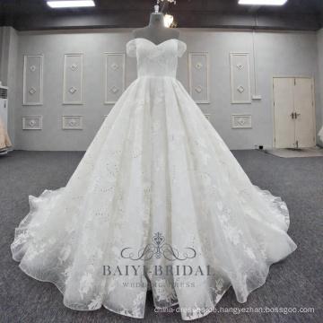 Schöne Spitze applizierte Brautkleider mit Schulterfrei Design eine Linie Brautkleid 2018