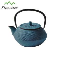 Venda quente atacado azul esmalte ferro fundido chaleira bule