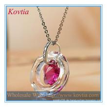TOP SALE Kristall Kristall Ring und rosa Kristall Blume billig Halskette Anhänger