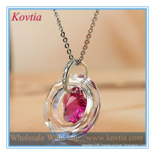 TOP SALE crystal crystal ring and pink crystal flower cheap necklace pendant