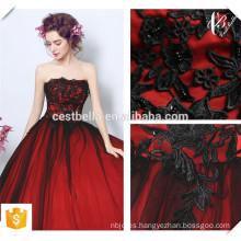 2016 elegante diseño elegante de hombro vestido de seda rojo de lujo vestido de noche vestido de ceremonia