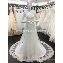 China Fábrica Elegent diseño Scoop escote sin mangas ver a través de corsé Pearl Back Beadings Soft Tulle vestido de novia de encaje A065
