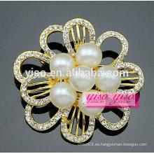 Broche cristalina de la venta caliente de la flor de la manera de la perla