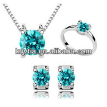 luxurious crystals wedding jewelry set bridal white gold plated fashion jewelry set for ladies