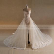 Noble Sweet Heart Mermaid Beads Robe de mariée en dentelle avec dentelle en perles détachées Tulle Tail