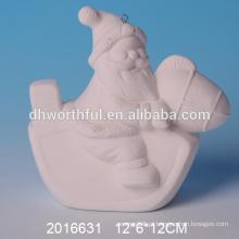 Alta qualidade DIY bisque santa, ornamento de Natal unpainted