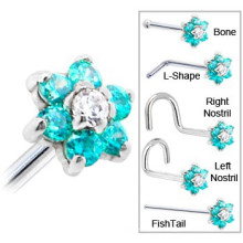 Anéis de nariz perfurando em forma de l de aço inoxidável do corpo dos anéis de nariz da forma da flor