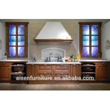 Armário de cozinha de madeira maciça de combinação clássica e moderna