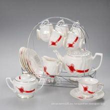 Juego de té de porcelana con estante de metal JXSK001