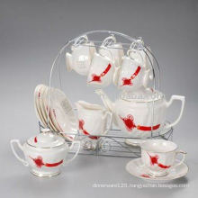 Porcelain tea set with metal rack JXSK001