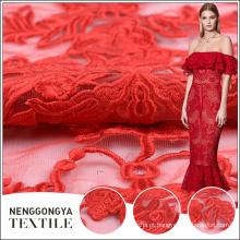 Personalizado atacado moda bordado vermelho vestido de noiva rendas