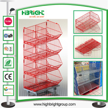 Einzelhandel Pulverbeschichtung Rolling Wire Stacking Basket Rack
