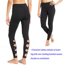 Pantalones de yoga de alta calidad de las mujeres desgaste de la aptitud del gimnasio ropa pantalones de yoga con enrejado