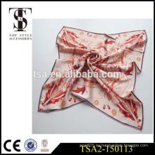 16mm twill seda bufanda 90x90 zapatos de tacón alto patrón de seda china bufandas de satén