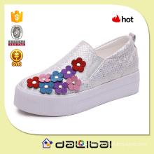 latest design sequined canvas 5cm platform sweet girl flower shoes
