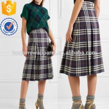 Plissado verificado lã Midi saia fabricação atacado moda feminina vestuário (TA3063S)