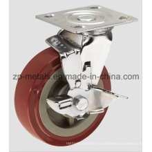 Rueda giratoria de 4 pulg. PU de alta resistencia con rueda giratoria de freno