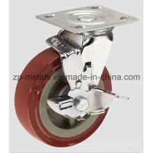Pivotant robuste en polyuréthane 4 pouces avec roulette de frein