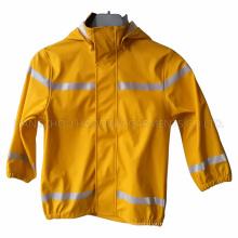 Amarelo PU refletora Raincoat para crianças / bebê