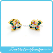 Fashion 18K Gold Plating Stainless Steel Cute Colorful Enamel Sea Turtle Tortoise Stud Earrings Made In China