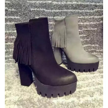 Fashion Style Women High Heel Ankle Boot with Tassles (S 50-4)