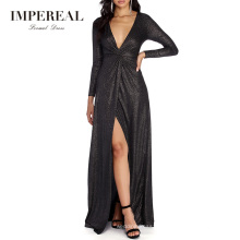 Sexy Plunging V Neckline Formal Glitter Maxi Long Sleeve Cocktail Dress