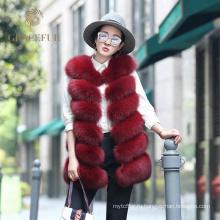 Отличный быстрый поставщик женщины натурального меха лисы жилет мода 2017