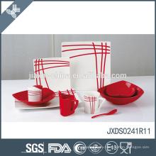 AB класс фарфора горячей продажи хорошего качества красный полосатый каменные посуда набор