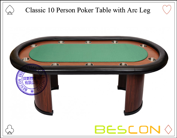 Classic 10 Person Poker Table with Arc Leg-3