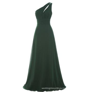 Starzz un hombro largo verde oscuro simplemente gasa vestido de dama de honor ST000071-5