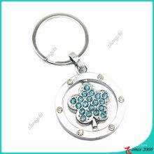 Zinc Alloy Metal Fashion Crystals Flower Key Ring (KC)