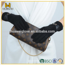 black colored leather gloves, Girl's cute suede leather gloves with leather bowknot