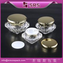 SRS fabricante recipiente de embalagem de cosméticos, frasco de acrílico com diamantes para pó