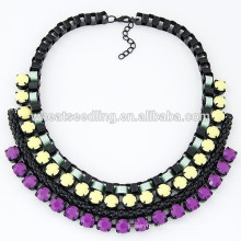 2014 Trendy braided lady black rope chain necklace