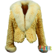 2014 luxurious fur style fox fur collar on sheep fur jacket
