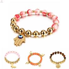 Bracelete de aço inoxidável do encanto do chapeamento de ouro do grânulo, bracelete do encanto do grânulo da mão de Fatima