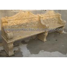 Banc de jardin de marbre en pierre antique pour ornement de jardin (QTC070)