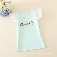 Girl Loose Letters Organic Cotton T-shirts With Butterfly Short Sleeves