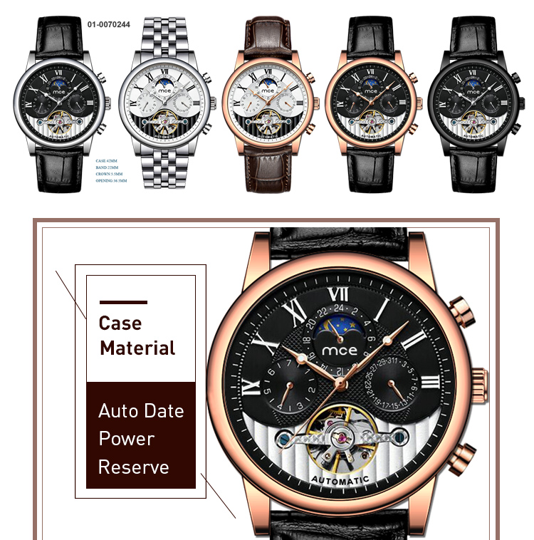 Luxury skeleton tourbillon movement automatic watch
