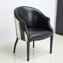 Antique Retro Black Stripe Leather Tub Chair (SP-HC083)