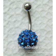 Argile polymère Anneau de ventre de cristal bleu