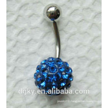 polymer clay Blue crystal ball belly ring