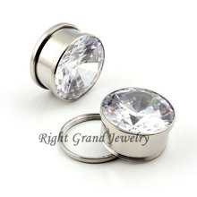 316L Steel Mirror Polished White Zircon Body Jewelry Flesh Tunnel