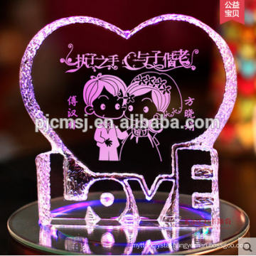 Heart Shape Crystal With 3D Laser Engraving For Wedding Souvenirs Gift