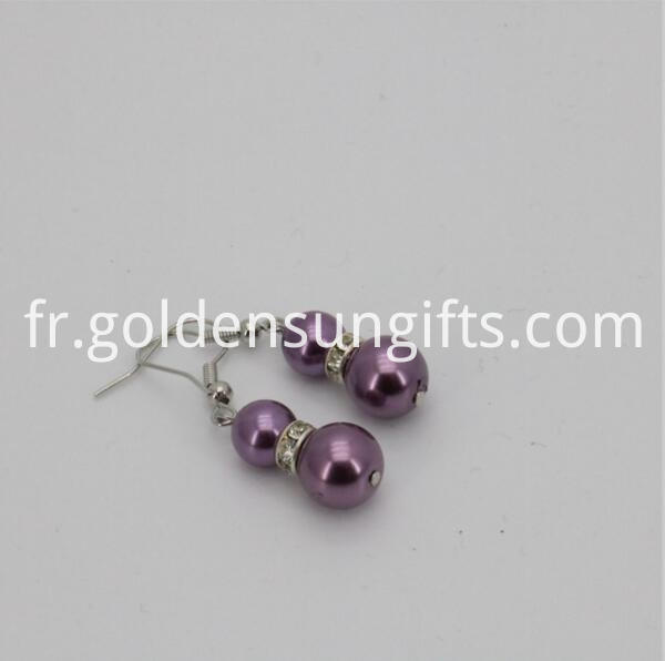 purple sea shell pearl bead Earrings