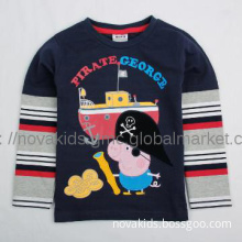 kids wear  boy t shirt with peppa pig george  new style embroidery top