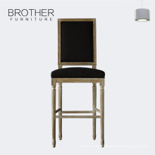 Hot sale cheap commercial wooden high kitchen bar stool with back