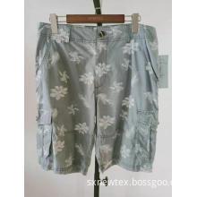 fashion printed cotton twill mens cargo shorts